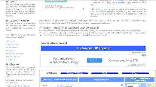 come scoprire indirizzo IP sito Web