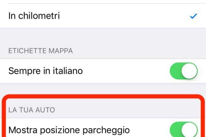 Mostra posizione parcheggio Mappe Apple