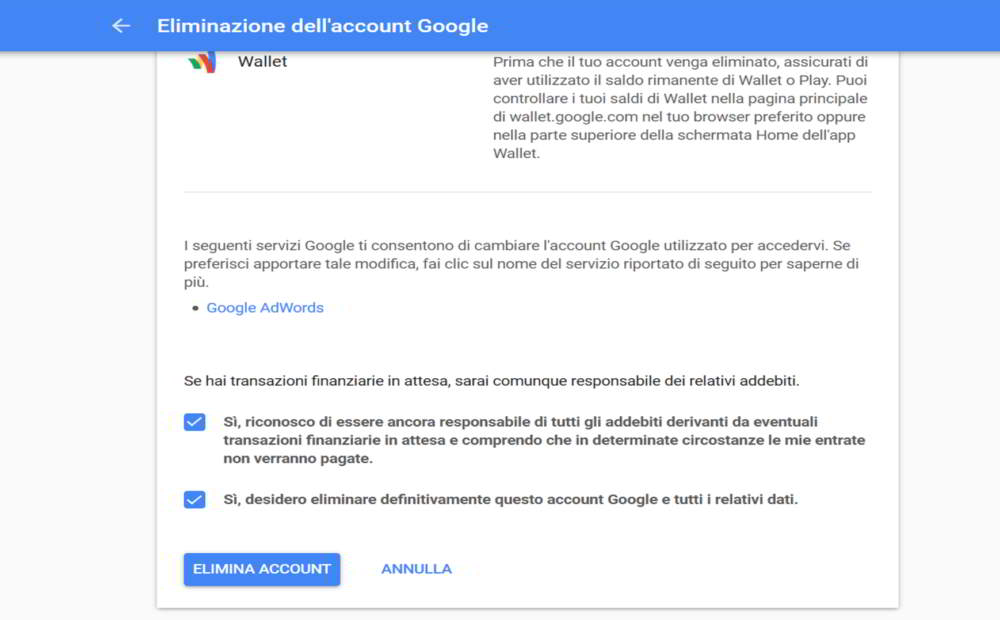 Come eliminare account di posta Gmail