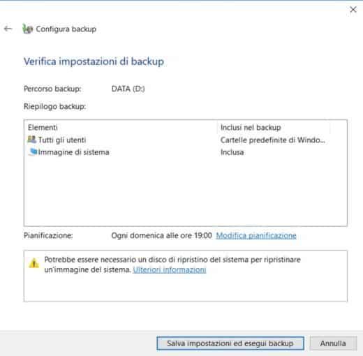Verifica impostazioni di Backup