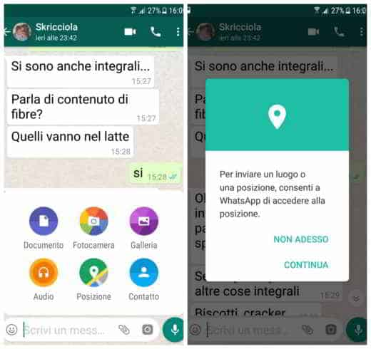 Come inviare posizione GPS WhatsApp
