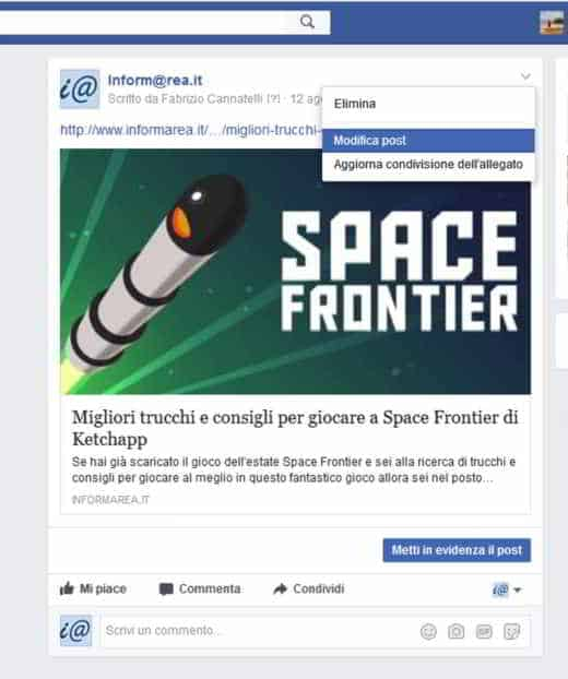 come programmare post su facebook