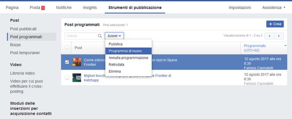 Come programmare post su facebook