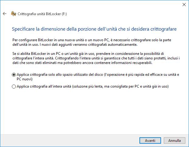 Come crittografare hard disk Windows 10