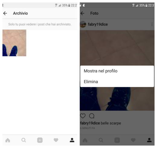 Come archiviare foto su Instagram