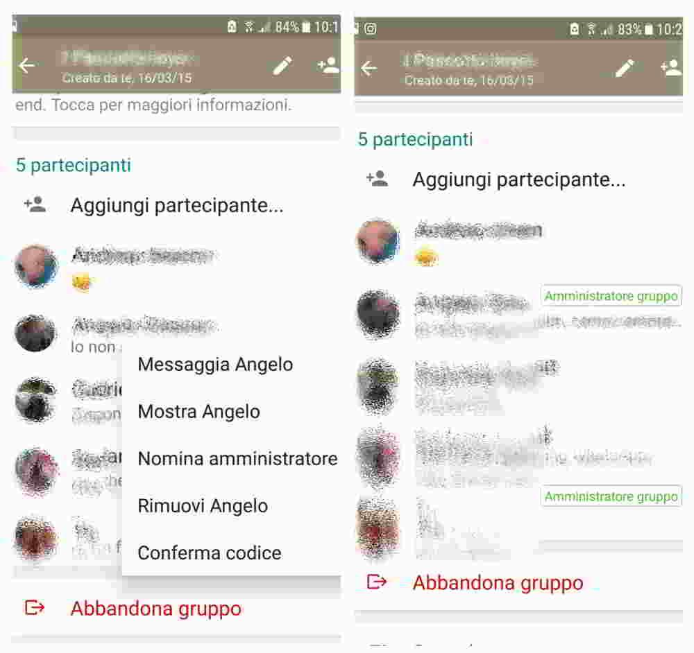 Nominare più amministratori gruppo WhatsApp