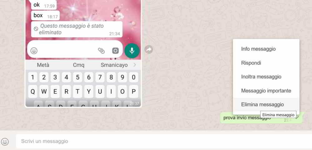 Come cancellare messaggi inviati whatsapp