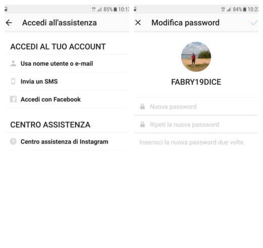 Come ripristinare password dimenticata Instagram