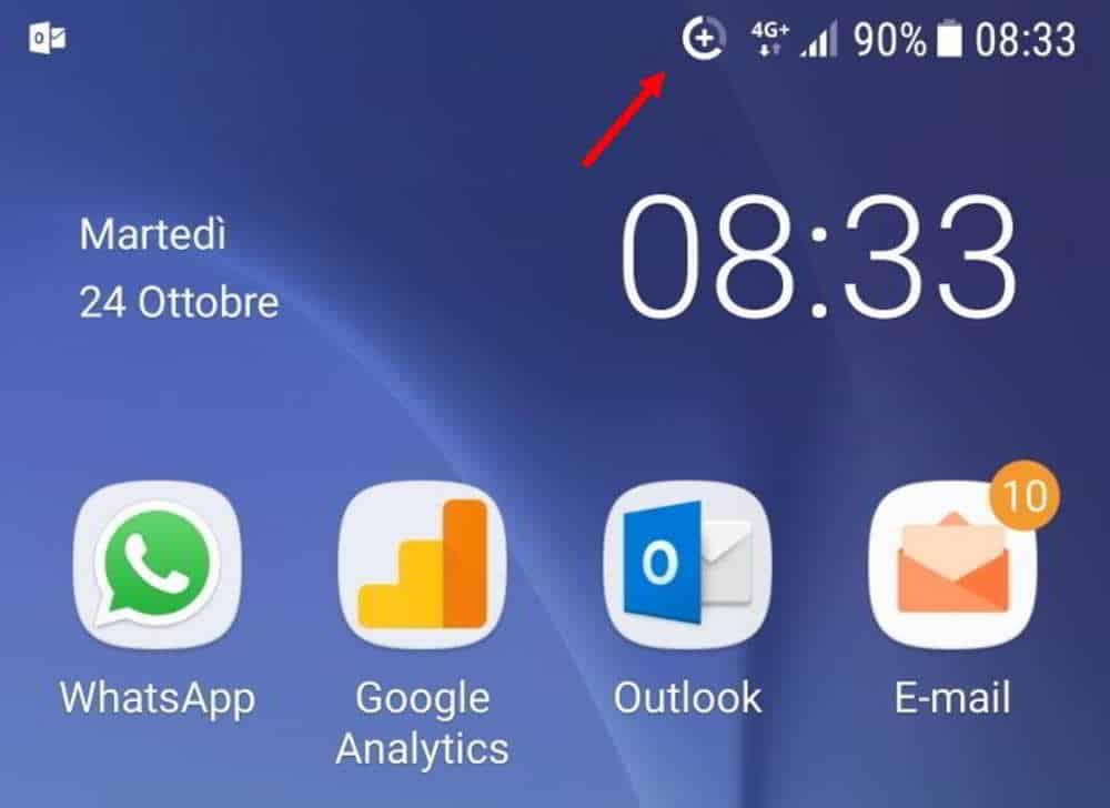 come togliere l'icona a forma di cerchio con segno + su Android