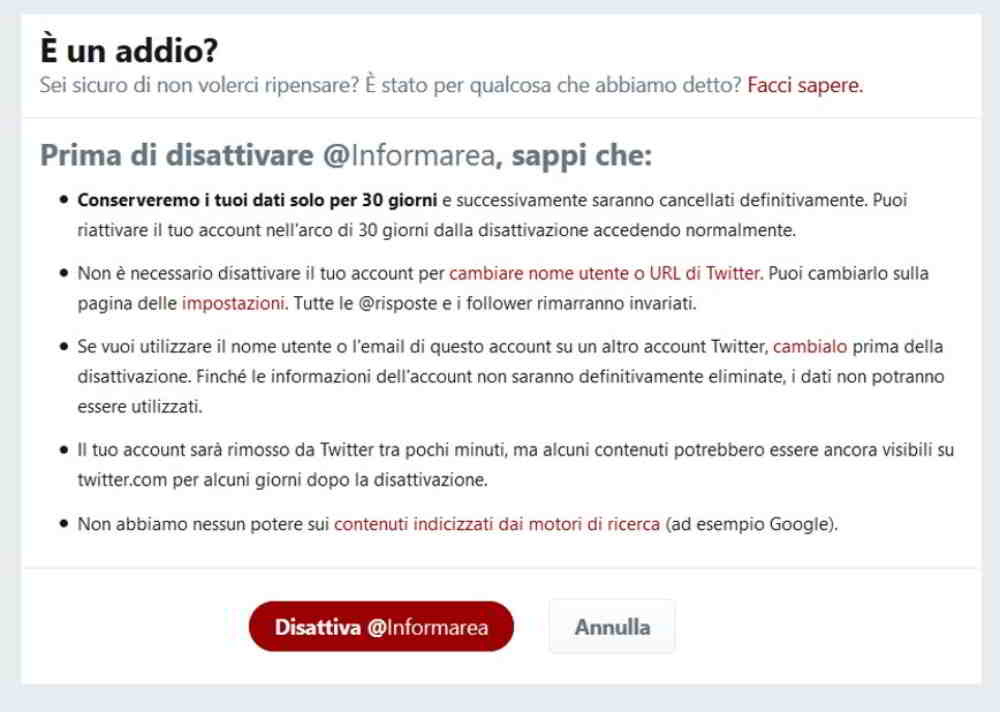 Come eliminare account Twitter