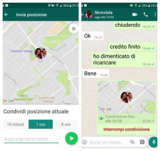 Come condividere posizione attuale Whatsapp