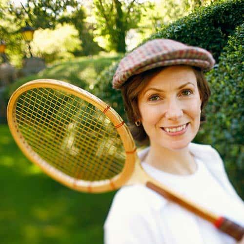 Tennis answer: WOODEN RACKET