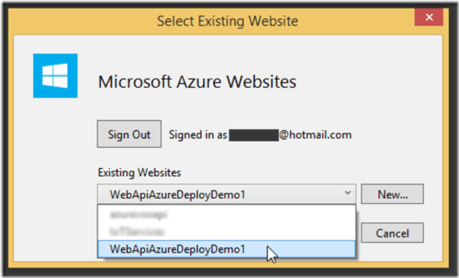 Deploy di un Website su Windows Azure